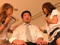 Rena Konishi Asian and gal with nude pussies play...