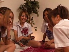 Rena Konishi Asian and chicks in uniform suck and...