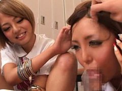 Rena Konishi Asian rubs her cunt and gives blowjob...