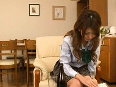 Japanese AV Model in uniform plays with boobs insi...