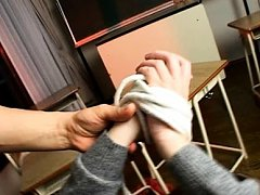 Ami Shono Asian with tied hands has hairy twat fin...