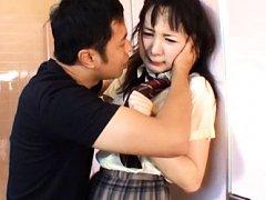 Japanese AV Model in uniform has pussy rubbed on p...