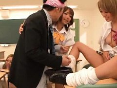 Rena Konishi Asian and gals are touched under skir...