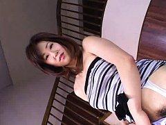 Japanese AV Model in white stockings puts cream on...