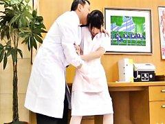 Japanese AV Model nurse is fondled over uniform by...
