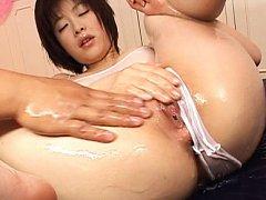 Kasumi Uehara Asian undressing full of oil gym cos...