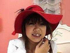 Rika Hayama Asian with red hat makes phallus erect...
