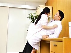 Japanese AV Model nurse has tongue licked and legs...