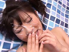 Ruri Nanasawa Asian with round boobs gets cum on f...