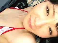 Sayaka Otonashi with push ups out of bra has shave...