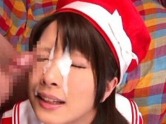 Ruri Nanasawa Asian gets cum on face after using v...