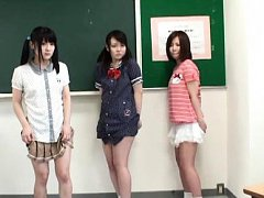 Japanese AV Model and chicks show pussies in scant...