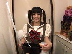 Chika Hirako Asian in kinky uniform has to clean m...