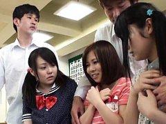 Japanese AV Model and chicks show pussies in scant...