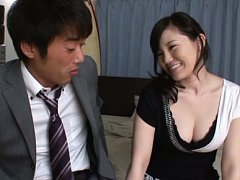 Arisa Ikoma Asian busty is horny and takes hunk cl...