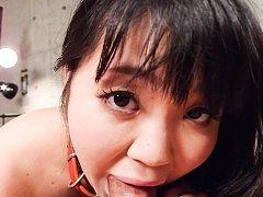 Nene Masaki Asian with belt on neck sucks strong p...