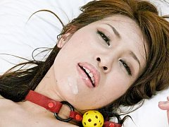 Ayaka Mizuhara Asian with ball in mouth gets vibra...