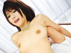 Azumi Harusaki Asian gets sperm on mouth and tits...