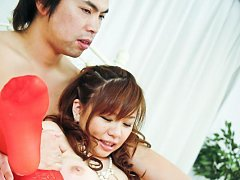 Aoi Mizumori Asian busty in red stockings gets vib...