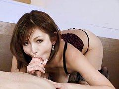 Mai Kuroki Asian in stockings plays with tongue al...
