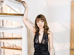 Nao Asian and doll in black and white lingerie sho...