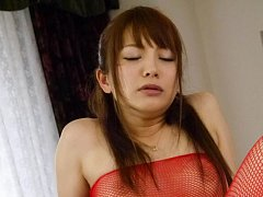 Maomi Nakazawa Asian in red stockings squirts unde...