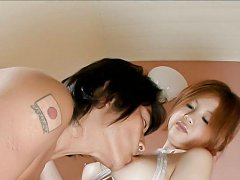 Rika Kurogawa Asian sucks dick in water and gets c...