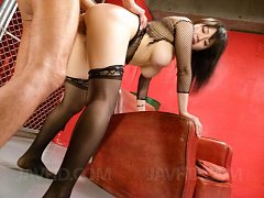 Azusa Nagasawa with big cans out of fishnet is fuc...