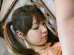 Buruma Aoi nymphet plays with hard cock on her jui...