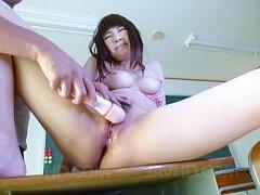 Yuri Sato Asian with big tits gets vibrator on cun...