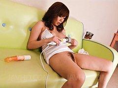 Aoi Mizumori Asian puts vibrators inside and on he...