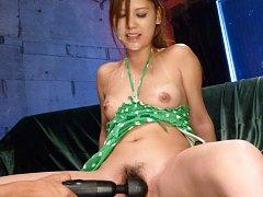 Nozomi Nishiyama Asian with vibrator in twat sucks...