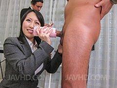 Yuuna Hoshisaki Asian gets cum on office suit afte...
