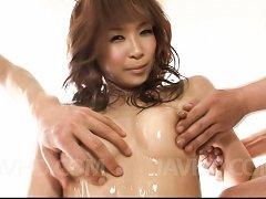 Misa Kikouden Asian fucks fake penis and gets sper...
