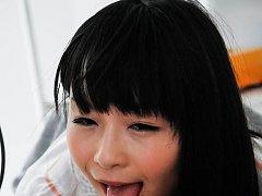 Nozomi Hazuki Asian spreads labia to show cunt and...