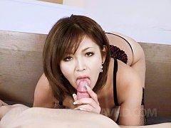 Mai Kuroki Asian in black lingerie sucks hard dick...