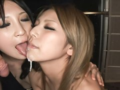 Sakura Kiryu Asian is passionately kissed by gal t...