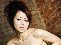 Maki Hojo Asian sucks penis and gets it cum in mou...