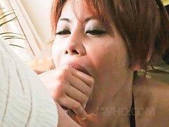 Moe Aizawa Asian in fishnet lingerie sucks two har...