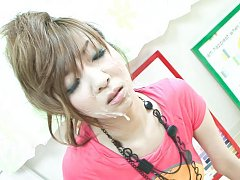 Hinano Asian in pink blouse gets cum on face from...