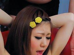 Rin Saotome Asian sucks dildo while getting vibrat...