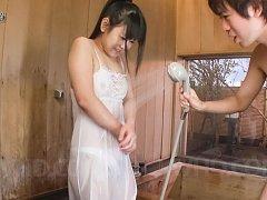 Koyuki Ono Asian with big eyes gets sperm on tongu...
