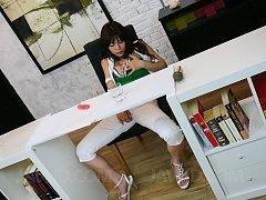 Karen Natsuhara Asian sucks tools and gets cum on...