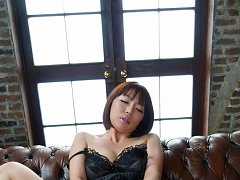 Izumi Manaka with out of corset tits sucks dick an...