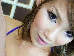 Akiho Nishimura Asian in blue bath suit strokes an...