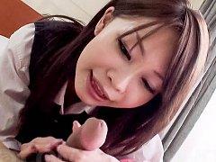 Sakura Anna Asian with erect nipples licks boner a...