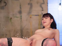 Tomoka Sakurai in stockings sucks boner while is p...