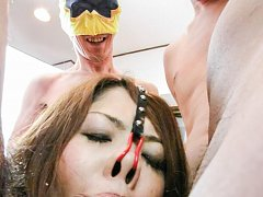 Rika Minamino Asian nas nose in painful hook while...