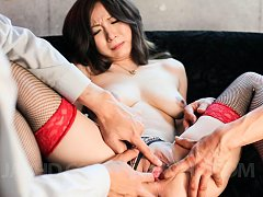 AYAMI Asian with nasty bust sucks boners and is ar...