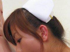 Petite cutie Miina Minamoto takes off white nylon...